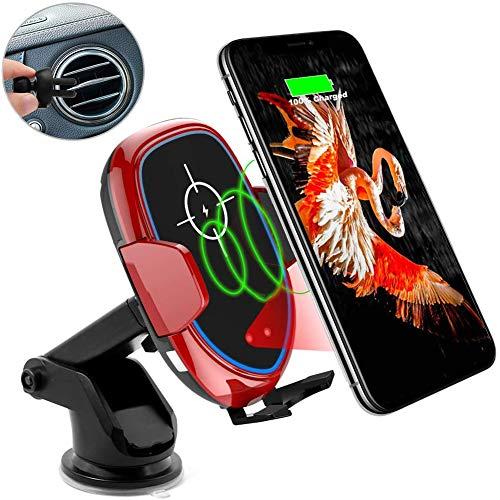 DOOK Kabelloses Auto Ladegerät, 2 in 1 Qi 10 W Schnellladung Automatisches Spannen Kfz Induktive Ladestation Saugnapf+Lüftung Halterung Handyhalter für iPhone 8/X/Max/XR/11 Samsung Galaxy 10/9/8,Rot