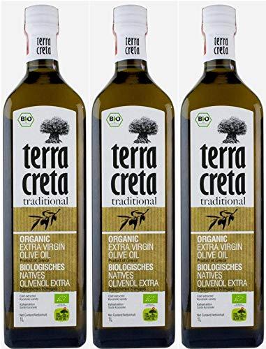 "Terra Creta BIO Olivenöl 3x 1,0l   Extra natives Bio-Olivenöl aus Kolymvari (Kreta)   + 1 x 20ml Olivenöl\""ElaioGi\"" aus Griechenland"