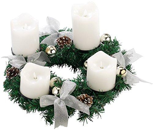 Britesta Fertiger Adventskranz: Adventskranz, silbern, 4 weiße LED-Kerzen mit bewegter Flamme (Weihnachtskränze LED-Kerzen)