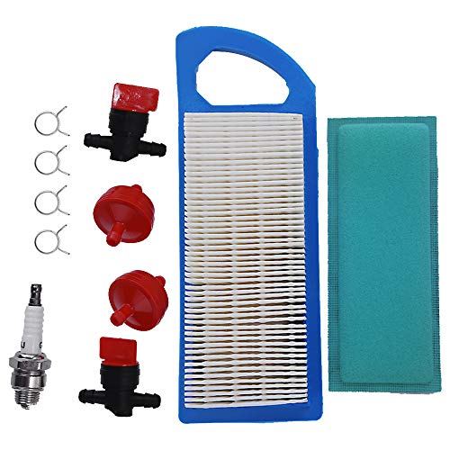 Air Filter Tune Up Kit Replacement for Briggs & Stratton Intek 15-18.5 HP Craftsman Lt1000 Shutoff Valve Clamp Spark Plug Fuel Filter