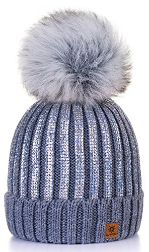 4sold Winter Autunno Inverno Cappello Cristallo più Grande Pelliccia Pom Pom Invernale di Lana Berretto delle Signore delle Donne Beanie Hat Pera Sci Snowboard di Moda (Grey)