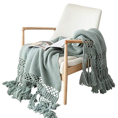 Xzbnwuviei Manta de punto hecha a mano, para sofá nórdico, manta de punto grueso con borlas, elegante tejido a mano, hueco, color sólido, funda de chal, accesorios de fotos para cama, silla, sofá