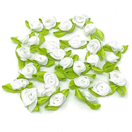White 15mm Mini Rose Satin Ribbon Rose Buds Craft Decorative Craft Flowers...