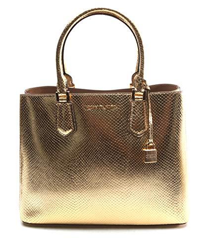 Open Closure, 1 Middle Zipper Compartment Embossed Leather 13''L X 10''H X 6''W 6'' Handle Drop 18- 20' Adjustable Shoulder Strap