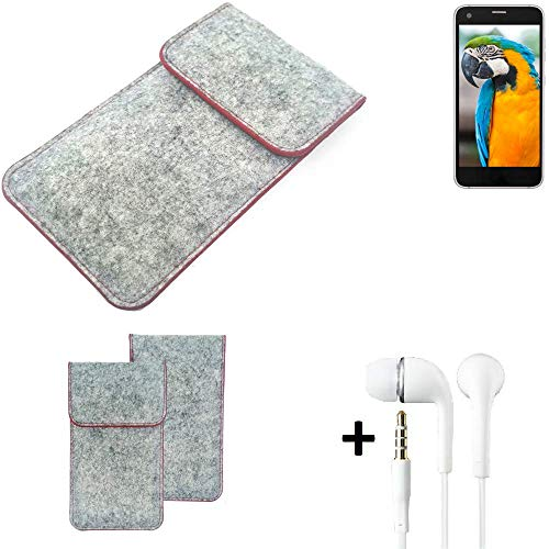 K-S-Trade® Handy Schutz Hülle Für Vestel V3 5040 Schutzhülle Handyhülle Filztasche Pouch Tasche Case Sleeve Filzhülle Hellgrau Roter Rand + Kopfhörer