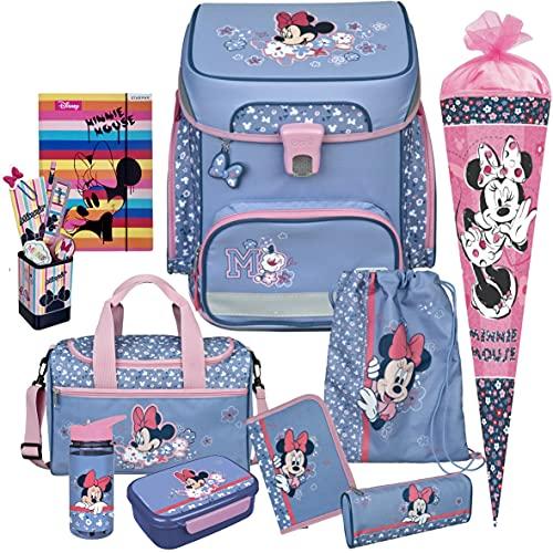 Minnie Mouse - SCOOLI Undercover EasyFit Schulranzen-Set 11tlg. mit Sporttasche, BROTDOSE, TRINKFLASCHE und SCHULTÜTE - HEFTMAPPE und STIFTEBECHER GRATIS DAZU