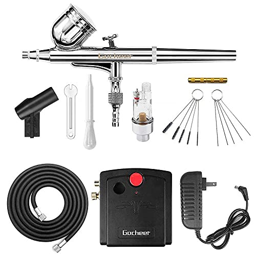 Gocheer Mini Airbrush Kit, Dual-Action Air Brush Pen Gravity Feed Airbrush...