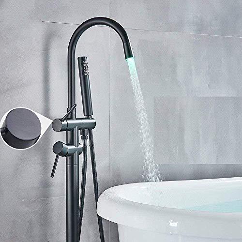 Grifo de bañera LED Grifo de bañera Baño con patas de garra Grifo de ducha de baño Grifo mezclador Caño giratorio Grifo montado en el piso Grúa Negro Bronce Negro