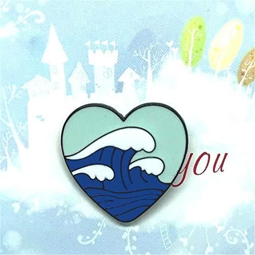 Broches,Pin de Esmalte de avión de Barco, Mapa de corazón