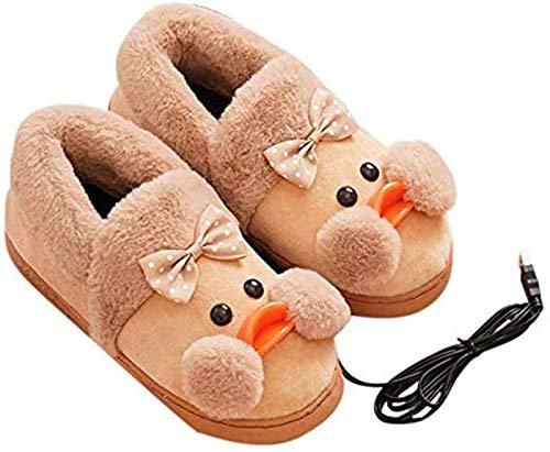 LONG-M Zapatos Dieléctricos con Calefacción USB para El Invierno, Calzado Térmico De Felpa, Cómodo, Lavable, para El,Marrón,35/36
