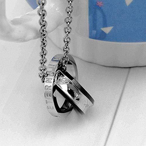 NC83 Collar Collar de acero de titanio Collar con colgante de pareja de anillo doble para hombres y conjunto de taladros de imitación Wen Colgante Joyas Regalo Collar negro Regalo
