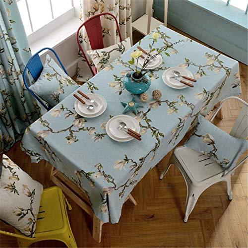 BMY 130 * 180cm hellblaue Magnolienblume Blumentischdecke Baumwollleinen amerikanischer...