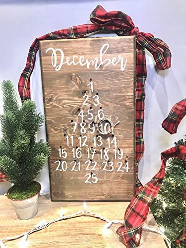 Rea66de Calendario de Adviento de Madera, rústico y Divertido, decoración del hogar, Ideas de Regalo de diciembre funcionales