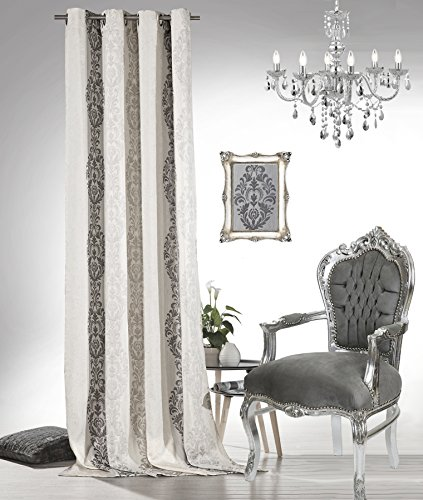 heimtexland Barock Ösenschal Vorhang 245x140 cm Dekoschal Blickdicht Ornamente in Natur Silber Leinen Gardine Typ564