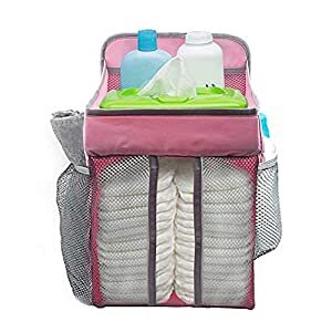 Hanging Baby Diaper Caddy Organizer For Crib Changing Table Or Wall Nursery Organizer For Infant Newborn Baby Playard Diaper Organizer Storage For Baby Essentials