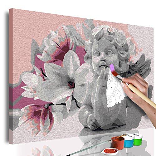 murando - Malen nach Zahlen Engel & Magnolien 60x40 cm Malset mit Holzrahmen auf Leinwand für Erwachsene Kinder Gemälde Handgemalt Kit DIY Geschenk Dekoration n-A-0540-d-a