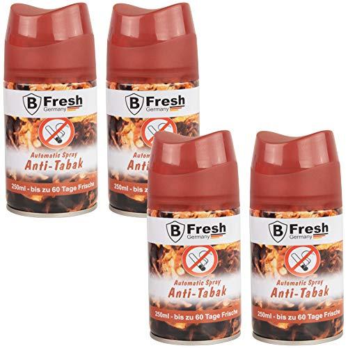 Anti Tabak Raumduft 4Stk -250ml Lufterfrischer Nachfüller kompatibel zur Airwick Freshmatic raumduftspray nachfüllflasche nachfüllpack Vorratspaket