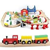 Jacootoys 80 pezzi Trenino Legno Giocattoli Pista Macchinine Ferrovia Treno Giocattolo Giochi Educativi Fienile in fattoria per bambini da 3 anni