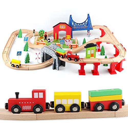 Jacootoys Tren Juguete Madera 80 Piezas Coches y Pista de Madera Bloques de Construcción Juguetes Educativos 3 4 5 6 Años Niños y Niñas