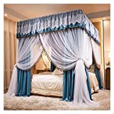Bed Canopy Luxurious Double Bed Canopy Curtains, 360°dust- Proof and Light- Proof Double- Layer Four- Corner Post Bed Canopy, Suitable for All Seasons, with Frame (Size : 180x200x210cm)