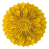 JWH 3D Flower Throw Pillow Cover Handmade Pillow Case Sunflower Decorative Cushion Pillowcase Round Pillow Filler Home Sofa Bed Living Room Guest Room Decor Girl Gift 12 Inch Gold Yellow