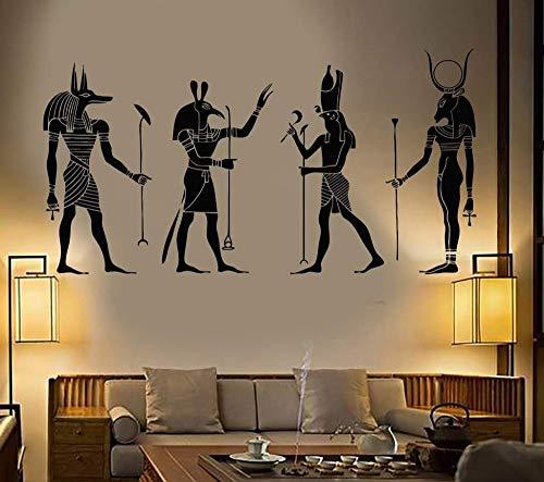 Egipto Dioses egipcios Lobo Adorno moderno Tribal Inpu Anpu Ra Seth Apis Etiqueta de la pared Calcomanía de vinilo Dormitorio Sala de estar Oficina Estudio Decoración para el hogar Mural
