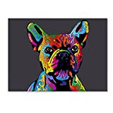 French Bulldog Grey by Michael Tompsett, 18x24-Inch Canvas Wall Art