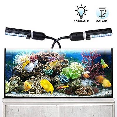 Aquarium LED Beleuchtung Relassy Aquarium Beleuchtung Lampe Dimmbar mit Austauschbaren E27 Lampen, Flexibler Schwanenhals LED-Aquarienleuchten für das Wachstum von Süßwasserfischen und Wasserpflanzen