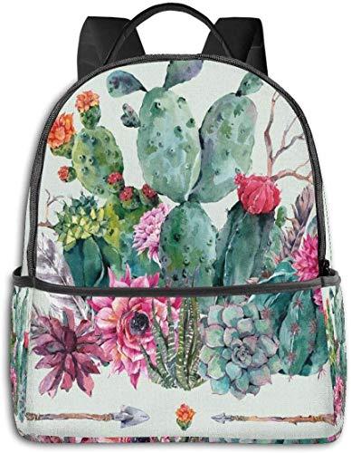 Schultasche Double Black Rucksäcke, Frühling Garten mit Boho-Stil Bouquet von Pflanzen Blüten Pfeile Federn, Casual Wandern Travel Daypack 12 '5' 14,5 'LWH
