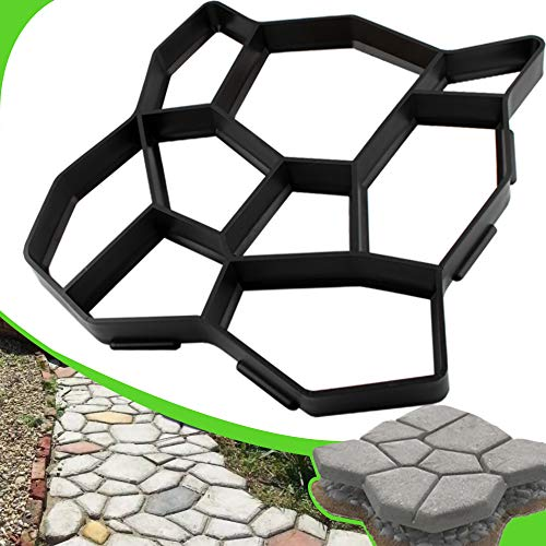 CJGQ Plus Size 19.6'x19.6'x1.7' Walk Maker Reusable Concrete Pathmate Stone Mold Stepping Stone Paver Lawn Patio Yard Garden DIY Path Maker Paving Moulds (Irregular)