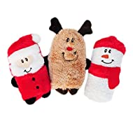 ZippyPaws - Holiday Squeakie Buddies No Stuffing Plush Dog Toy - 3-Pack Santa, Reindeer, Snowman