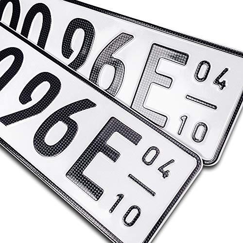 schildEVO 2 Carbon Kfz E Kennzeichen + Saison | OFFIZIELL amtliche Nummernschilder | DIN-Zertifiziert – EU Wunschkennzeichen mit individueller Prägung | Autokennzeichen