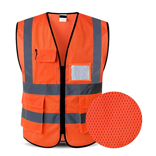 Mesh Veiligheid Vesten Rider ademend Duurzame en waterdicht Makkelijk te wassen en drogen Security Officer Fluorescerende kleding Bouwvakker Werkkleding Vest XMJ (Color : Orange, Size : L)
