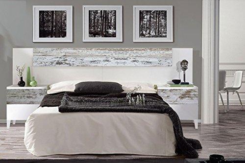 Habitdesign 036093BO - Cabezal y mesitas Vintage, Acabado Blanco Brillo y Decapé, Medidas: 247 cm (Ancho) x 100 cm (Alto)