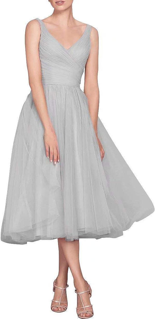 NaXY Women's Tulle Tea Length Bridesmaid Evening Dress