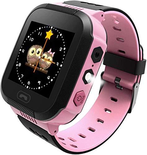 Kinder Smartwatch Touchscreen Mobile Smartwatches mit LBS SOS Voice Chat Kamera Taschenlampe Wecker Digitalkamera Kids Smart Watch fur Madchen Kompatibel mit IOS und Android Rosa