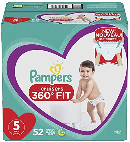 Diapers Size 5 52 Count  Pampers Pull On Cruisers 360° Fit Disposable Baby Diapers with Stretchy Waistband Super Pack Packaging May Vary