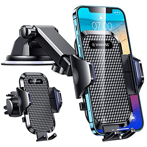 VANMASS Car Phone Holder Mount, [Upgraded Military-Grade Shockproof] Mobile Cell Phone Cradle [Strong Suction] Universal Automobile Dashboard Windscreen Vent Stand Compatible with iPhone 13 12 Samsung