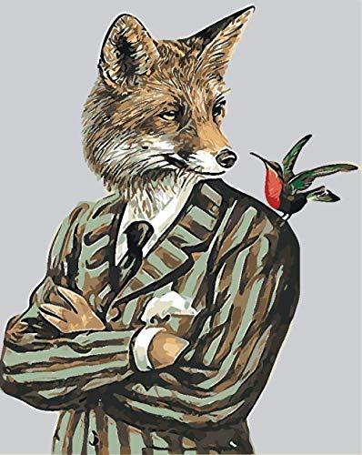 ZHAOSHOP Ölgemälde malen nach Zahlen Malen nach Zahlen DIY Digitales Ölgemälde Mr Wolf Malset für Kinder Erwachsene Handmade Decor Crafts Arts 40X50CM DIY Digitale Malerei