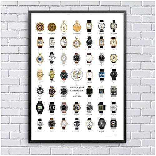 FUXUERUI Cuadro de varios relojes vintage,póster de arte de pared,pintura en lienzo,imagen impresa para decoración del hogar,50x70 cm sin marco