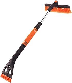 Bestine Ausziehbare Schneebürste für Auto Eiskratzer, Abnehmbarer 3 in 1 Schneebesen Eisentferner mit langem Griff für Auto Windschutzscheibenglas (Orange)