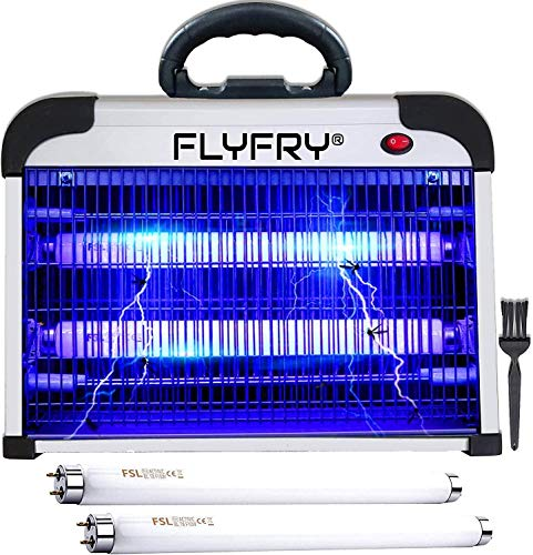 FLYFRY Bug Zapper Indoor 20w 2800v, Electric Insect Fly Killer Mosquito Pest Lamp Electrocutor for Mosquitoes Flies Insects Bugs Gnats Moths Wasps Hornets, Extra UV Bulbs