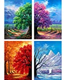 SKRYUIE 4 Pack 5D Diamond Painting Four Seasons Trees Full Drill Paint with Diamond Art, DIY Spring Summer Autumn Winter Tree by Number Kits Embroidery Rhinestone Wall Home Decor 25x30cm (10'x12')