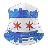 C-WANG Chicago-Flag-Watercolor-Mike-Maher Unisex Microfibra Cuello Calentador Headwear Cara Bufanda máscara máscara Bandana Balaclava