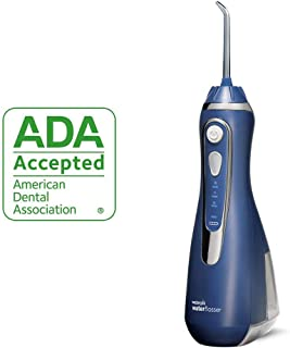Waterpik Cordless Water Flosser Rechargeable Portable Oral irrigator for Travel & Home – Cordless Advanced, Wp-563 Classic Blue