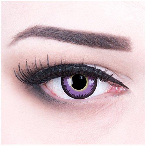 Farbige Funnylens lila violette Crazy Fun Kontaktlinsen Maniac perfekt zu Fasching, Karneval und Halloween, Vampir, Demon Blut rot mit Behälter Topqualität zu Karneval und Halloween