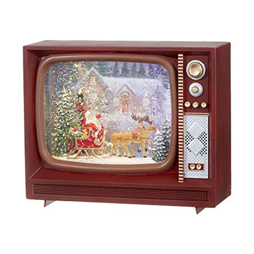 RAZ Imports Santa and Reindeer Lighted Water TV Lantern Musical Snow Globe 9.75 Inch with Swirling Glitter Battery Operated and USB Powered