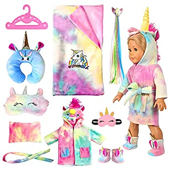 【UPGRADE】18-inch Doll-Clothes and Doll-Sleeping-Bag Set - Unicorn Pajama with Sleepover Masks & Pillow - Compatible with American-Girl-Doll-Clothes Our-Generation My-Life Dolls Accessories for Kids