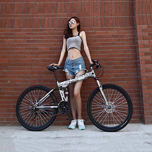 Folding Bike, Bicicletta della Montagna, Hard Tail Bike, 26In * 17In / 24In * 17In Bike, 21 velocità Biciclette, Full Suspension MTB Biciclette,Grigio,26 Inches