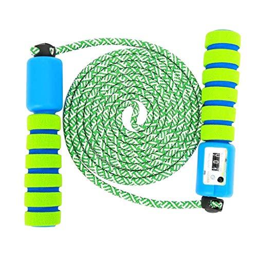 Yivise - Corda per saltare per bambini e adulti, con contatore e manico antiscivolo, colore: Verde